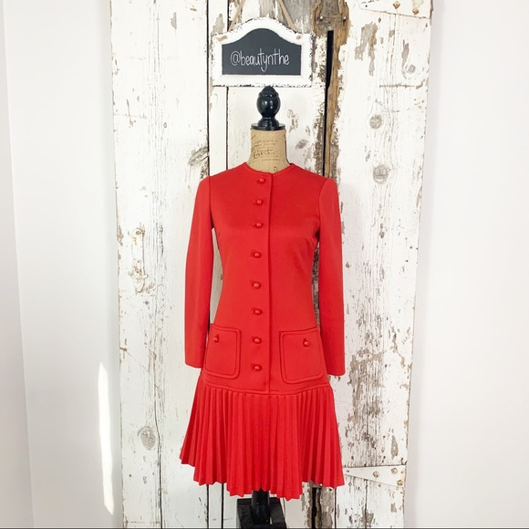Vintage Dresses & Skirts - Vintage button front pleated drop waist dress